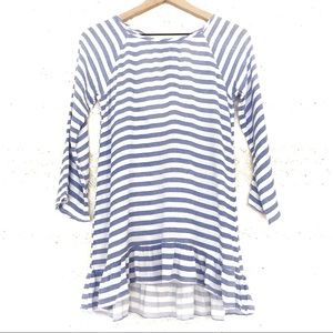 Francesca's | Blue & White Striped Top/Swim Cover
